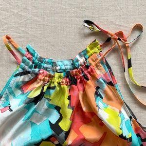 Trina Turk Tie-Neck Silk Halter Blouse - S